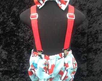 BOYS BIRTHDAY SET, Mr Fox, diaper cover, suspenders and bow tie, birthday set, photo prop, boys clothing