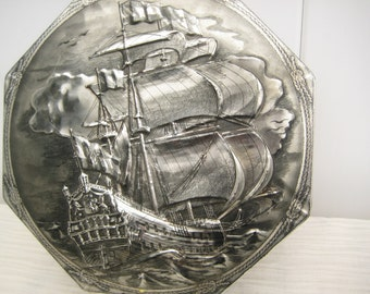 Dutch 1960's Collectible Tin Can, Victoria Biscuit Co, Dordrecht - Holland, Embossed Hinged Lid, 9 in, Sailing Vessel, Silver Tin Box, Boat