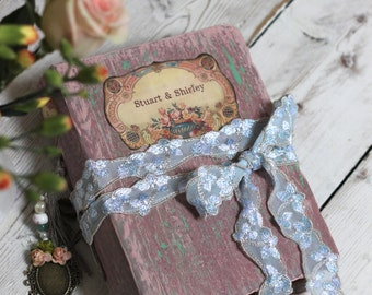 Pink and mint wedding guest book | vintage style scrapbook photo album. Made to order 8.5x6 inches.