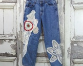 Women's Chic Upcycled Jeans with Doilies and Lace Applique Patchwork Romantic Clothing Wearable Art Denim