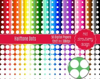 75% OFF Sale - 56 Digital Papers - Halftone Dots - Instant Download - JPG 12x12 (DP176)