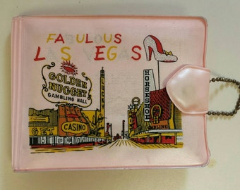 Vintage 1950's Las Vegas Pink Wallet Silver Slipper Horseshoe Nugget