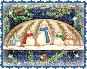 CC130 - Frosty Family Door Crown - Painting E Pattern by Cyndi Combs