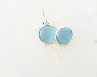 Aqua drop earrings - cabochon earrings - Summer earrings - Light blue earrings -gift for her - aqua blue jewelry