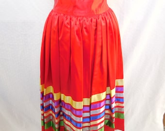 Red Satin Square Dance / Festival / Rockabilly / Mexican Skirt - Women's XS to S