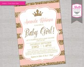 Baby Shower Invitation - Princess Crown for Girl - Peach Stripes and Gold Glitter- DIY Printable - Peach