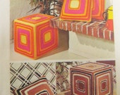RETRO 70s CROCHET Decor Simplicity 6007 Pattern Knife Edge or Cube Pillows Decorative Accessories 16 In Cube Cushions Vintage Crochet