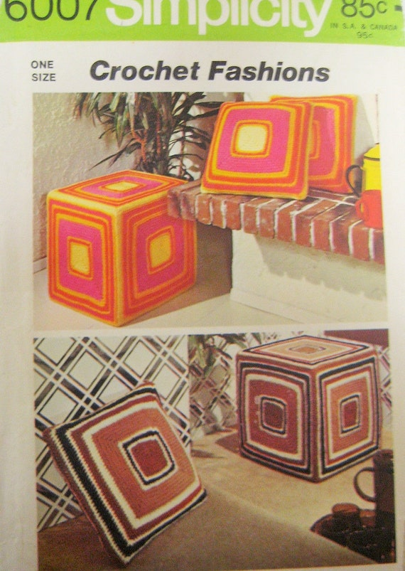 Retro 70s crochet decor simplicity 6007 pattern knife edge - Crochet mural vintage ...