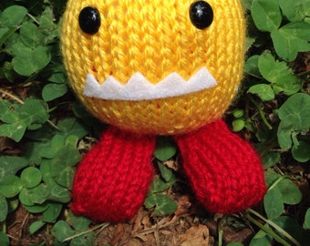 Hand-Knit Plush Monster Toy Yellow and Red