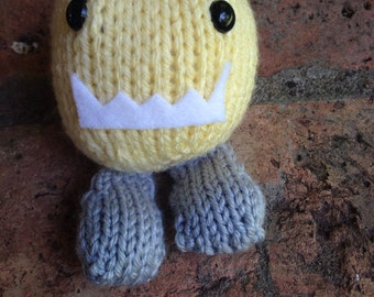Hand-Knit Plush Monster Toy Yellow and Grey