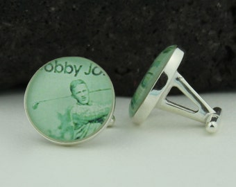 Golf Silver Cufflinks for Men. These Unique Cufflinks feature a Vintage Bobby Jones Stamp set in Solid Sterling Silver Cufflink Backs.
