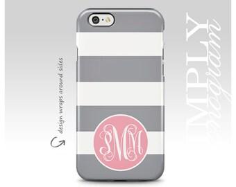 iPhone 7 Case, iPhone 8 Case, Galaxy S8 Case, iPhone 7 Plus Case, Samsung Galaxy Case, Galaxy S7 Case, Gray Stripes, Monogram Case