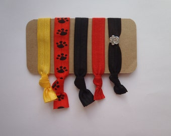 5 BULLDOG Elastic HAIR TIES Batavia High School, Sports Theme, Football, Dog Pound, Rhinestone Paw Print Charm, Bull Dog, Gift Mom
