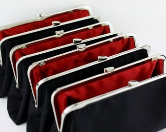 Solid Black with Multi Lining Bridesmaids Clutches / Personalised Gifts for your Bridal Party / Create Your Wedding Clutches - Set of 4