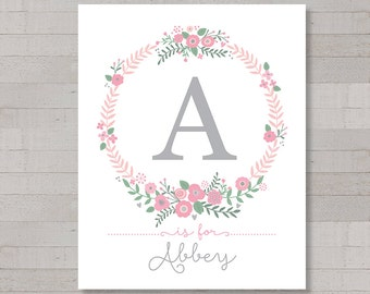 Monogram and Name Printable Art, Floral Wreath, Pinks and Blush Tones, Gray Type, Personalized, 8x10 DIY Digital Print