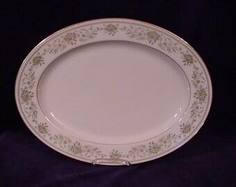 "Noritake GREEN HILL 2897 Oval Serving Platter 13 1/2"""