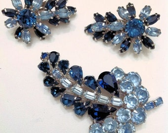 "Blue Mid Century ""KRAMER""  Brooch With Unmarked Clip Earrings  Light and Dark Sapphire Blue Rhinestones"