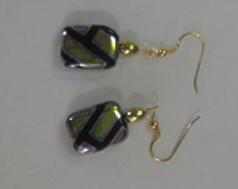 Mod Rectangle Bead Earrings with Goldplate Wires