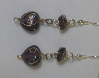 Wire Wrapped Purple Heart Earrings