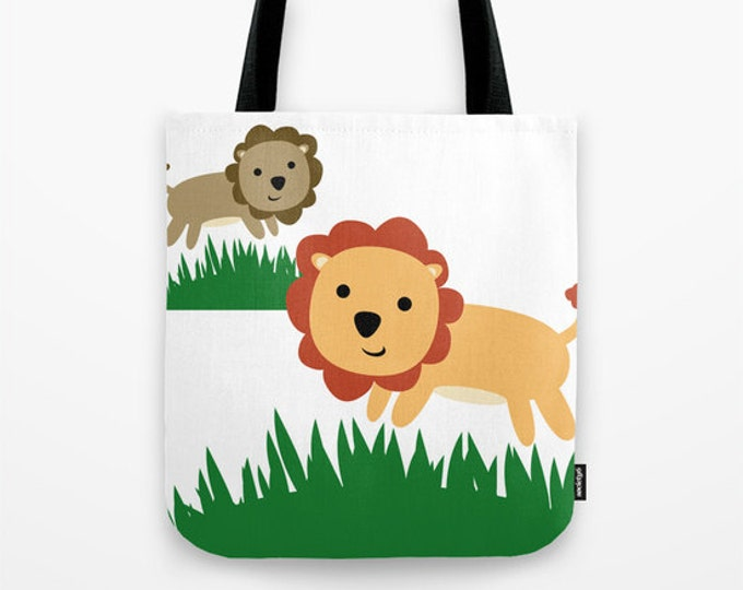 Lion Tote Bag - Book Bag - Grocery Bag - Beach Bag - Jungle Lion Kids Tote Bag - Made to Order