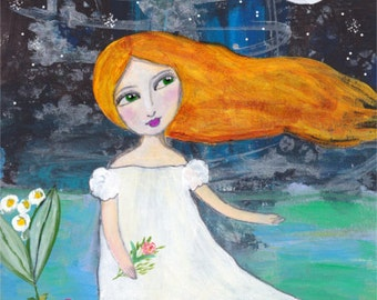 Whimsical Girl Folk Art, Girls Room Decor, Girl With Moon, Nursery Decor, Folk Art Painting