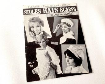 Vintage Knitting, Vintage Crochet, Knitting Patterns, Crochet Patterns, Fleisher, 1968, Shawl Pattern, Hat Pattern, Scarf Pattern
