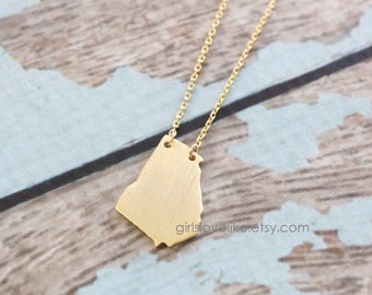 Tiny Gold Georgia State Charm Necklace with Skinny Chain,GAState Charm Necklace , GA necklace, Georgia Long Necklace