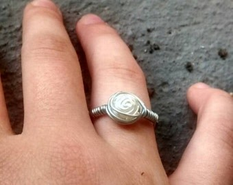 Pearl rose ring, bride, wedding, bridesmaids, boho, gypsy, festival, rave, cosplay, bohemian, beachy, floral,