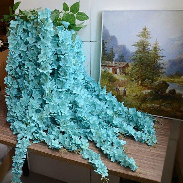 5pcs Aqua Blue Garland Wedding Hanging Flowers Artificial Silk