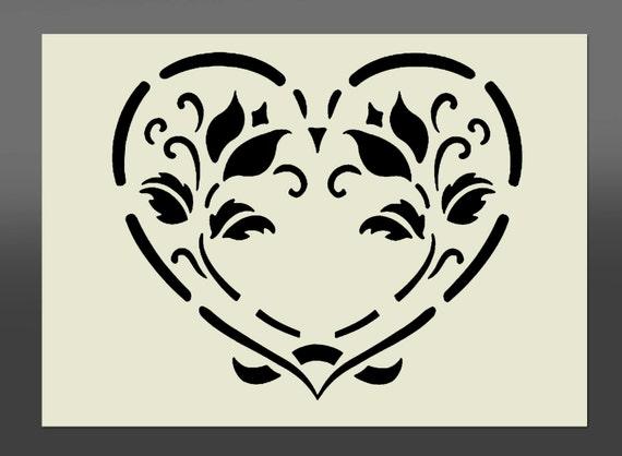 Shabby chic cuore stencil vari formati realizzato da mylar - Stencil cucina da stampare ...