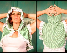 Frizzle Hood, green, white and gold striped stretch synthetic w white stretch lace, fresh and funky bolero, shrug, shoodie, hoodie, jacket