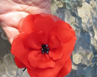 Beautiful Red Poppy Bobby Pin 3.75 inches, Silk and Chiffon