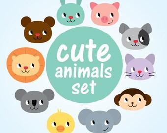 Cute animals clipart, bear, cat, chicken, elephant, koala, lion, monkey, pig, rabbit. 9 set, png transparent background