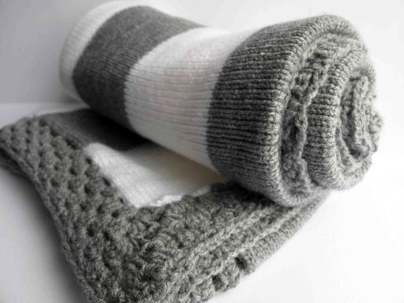 Grey and white knitted baby blanket
