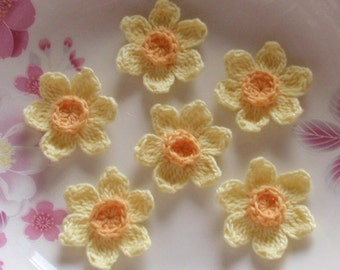6 Crochet  Flowers Crochet Daffodil In 1-1/2 inches YH -204-01