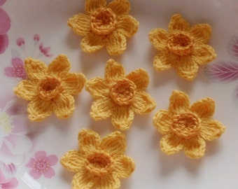 6 Crochet  Flowers Crochet Daffodil In 1-1/2 inches YH -204-02