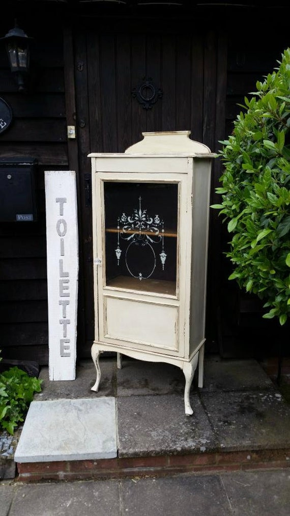 shabby chic antique display bathroom cabinet in autentico chalk