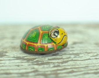 Vintage Tin Turtle Toy- Racing Turtle
