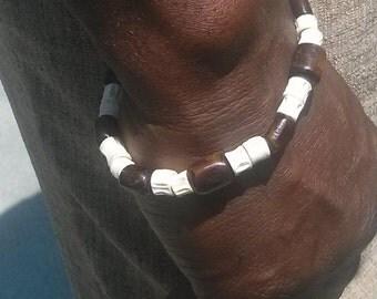 Men's Bone Bead Bracelet By Sonde Ka Jewelry  Men's Stretch Bracelet Brown & Cream