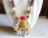 Indian Ethnic Beaded Necklace /Statement Necklace with Long Triangular stone pendant