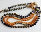 NEW !! Strand Necklaces / Asymmetric Jewelry / Beaded Statement Necklace / Multi-Layered necklace - Yellow, Black & Brown