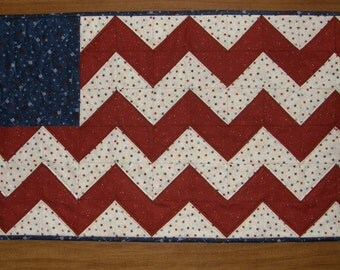 Americana Patriotic Quilted Wall Hanging Quilted Table Runner Table Topper Red White Blue Quilt