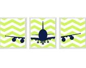 Airplane Nursery Art - Chevron Navy Blue Lime Green Boy Room Aviation Flying - Baby Boy Nursery Toddler Big Boy Room Wall Art Home Decor