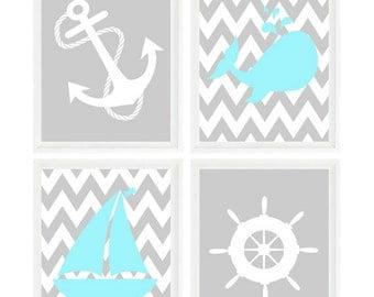 Nautical Nursery Art, Gray, Aqua, Baby Boy Nursery, Anchor Art, Whale, Sailboat, Chevron Print, Boy Room, Nautical Theme, Baby Gift, Art Set