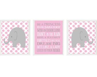 Baby Girl Nursery Art, Elephant Wall Art, Girl Rules Print, Pink and Gray, Polka Dot Elephant, Girl Wall Art, Baby Gift, Girl Nursery Prints