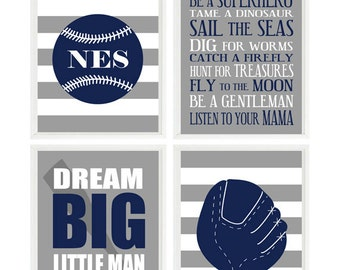 Baseball Nursery Wall Art, Personalized Nursery, Baseball Room, Navy Blue Gray Stripe, Dream Big Little Man Quote, Baby Boy Room, Boy Rules