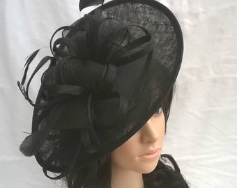 Black Fascinator.. Black Feather Sinamay shaped Fascinator Hat on a Headband