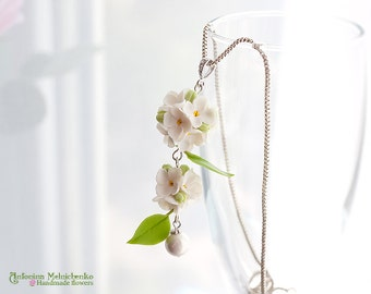 Pendant Lilac Syringa  - Polymer Clay Flowers