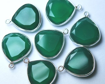 925 Sterling Silver Green Onyx Faceted Heart Shape Pendant,2 Piece of 20mm
