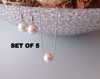 Bridesmaid gift set, single pearl necklace, single pearl earrings, bridal earrings, best selling items, set of 5 jewelry set